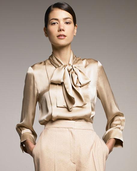 Necktie Silk Blouse, Old Rose