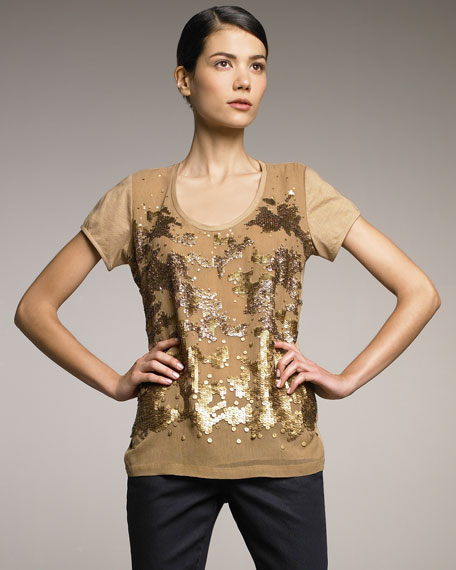 Sequined Tee, Camel
