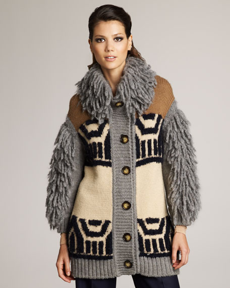 Shag-Accent Intarsia Sweater