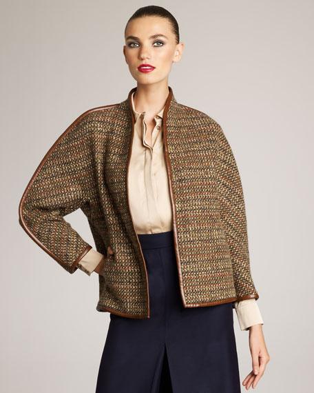 Dolman-Sleeve Tweed Jacket