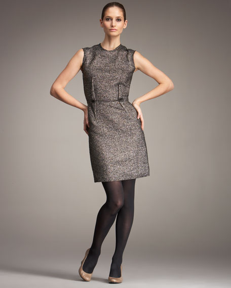 Metallic Boucle Sheath Dress