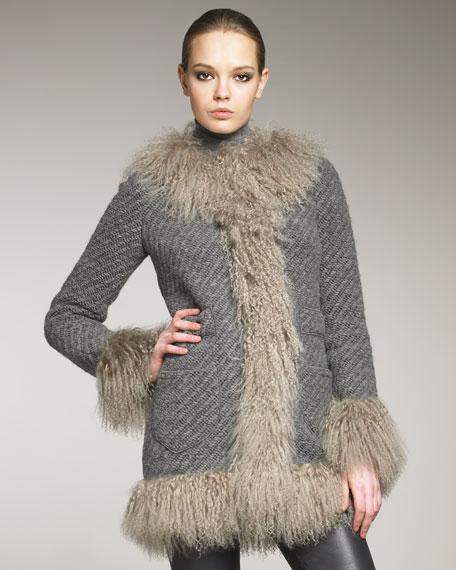 Mongolian-Trim Knit Coat