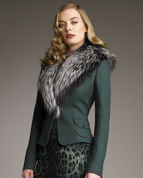 Jacket with Detachable Fox Collar