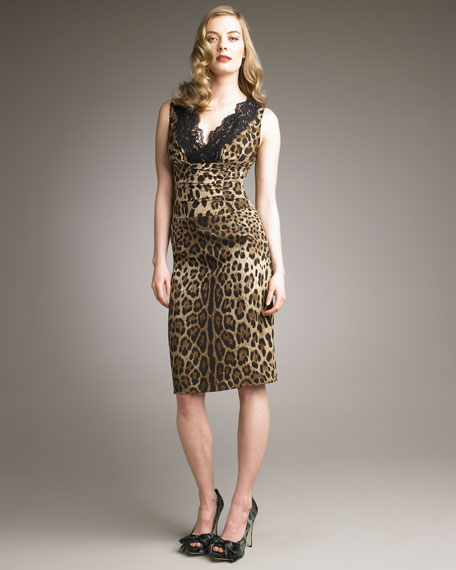 Lace-Neck Leopard-Print Dress