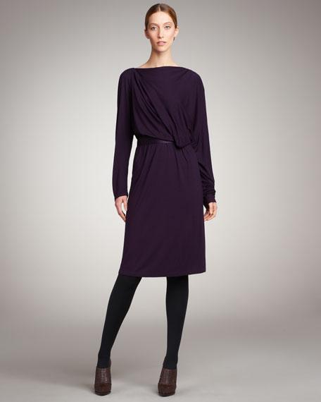 Dolman-Sleeve Draped Dress