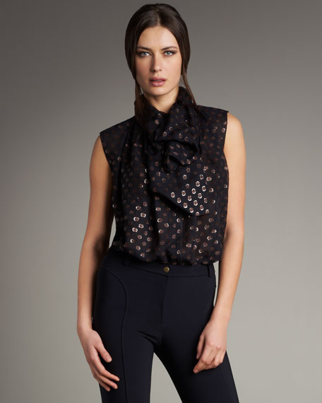 Polka-Dot Tie-Front Blouse