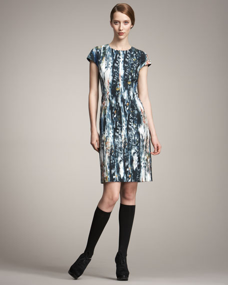 Watercolor-Print Dress