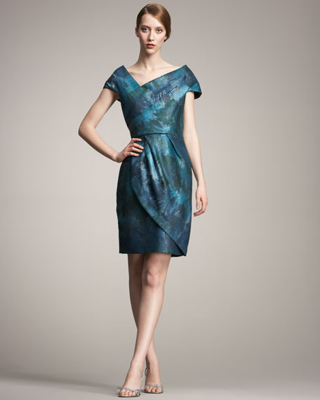 Brocade Cap-Sleeve Dress