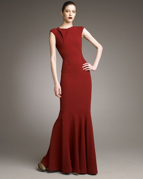 Copperfield Fold-Neck Trumpet Gown