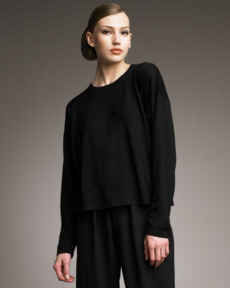 Round-Neck Short Top, Black