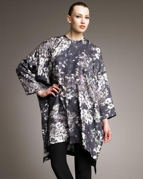 Brushstroke-Print Silk Caftan