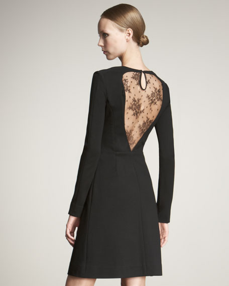 Jason Wu Lace-Back Long-Sleeve Dress