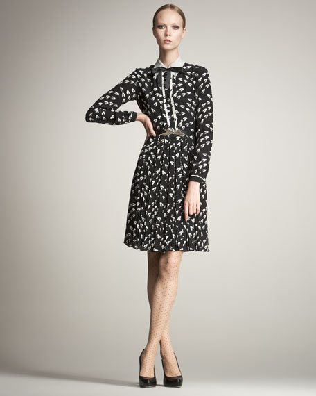 Belted Leaf-Print Shirtdress