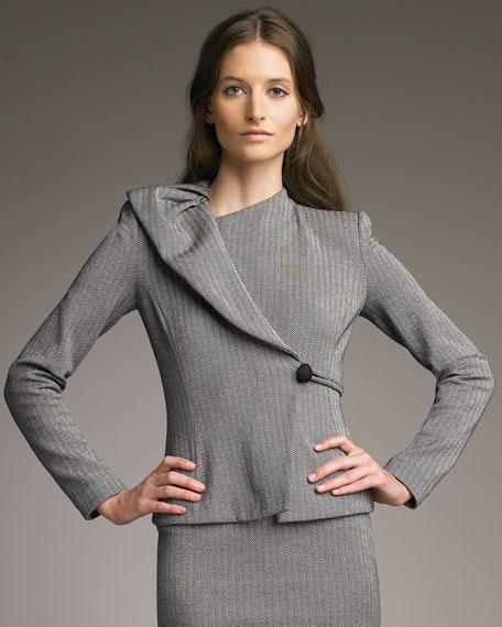 Asymmetric Herringbone Jersey Jacket