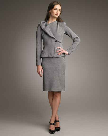 Herringbone Jersey Pencil Skirt