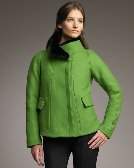 Fur-Collar Swing Coat