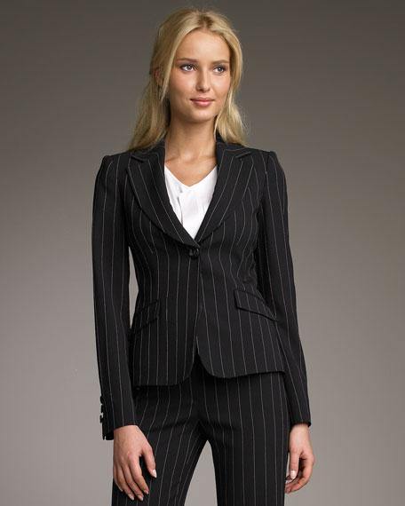 Chalk-Stripe One-Button Jacket