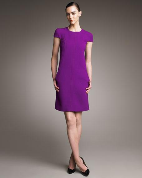 Cap-Sleeve Stitched Shift Dress