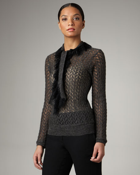 Scarf-Neck Lace Top