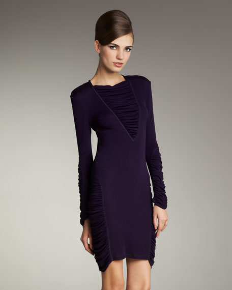 Long-Sleeve Ruched Jersey Dress