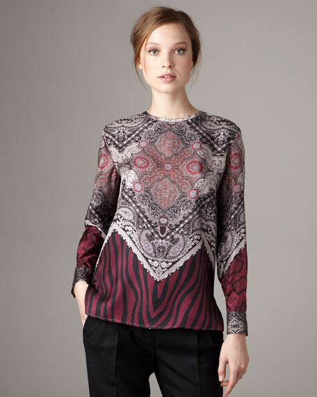 Mixed-Print Twill Top