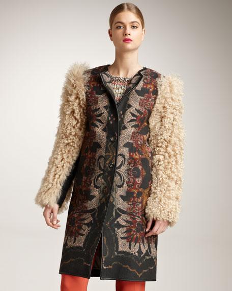 Fur-Sleeve Coat