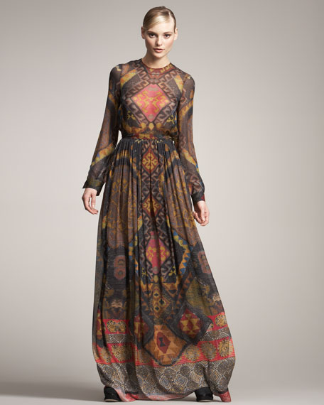Tribal-Print Habutai Skirt