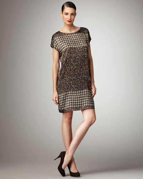 Houndstooth & Dot-Print Dress