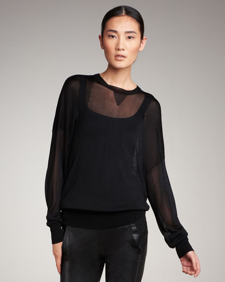 Sheer Knit Sweatshirt