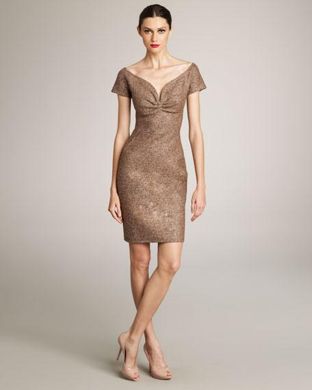 Sweetheart-Neckline Tweed Dress