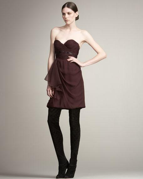 Organza Ruffle Strapless Dress