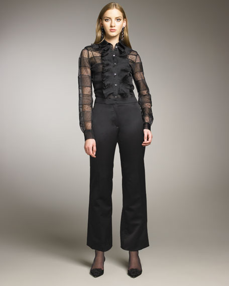 Slim Stretch-Duchesse Pants