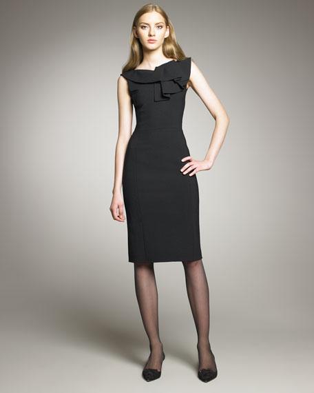 Ruffle-Neck Stretch Wool Dress