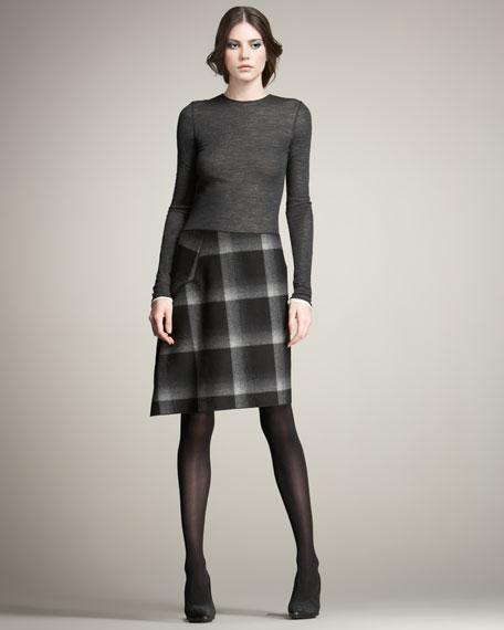 Burnout & Ombre-Plaid Dress
