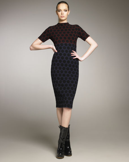 Polka-Dot Jacquard Dress