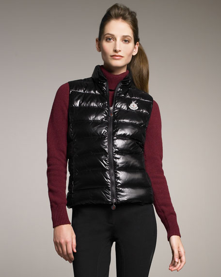 Nylon Laque Puffer Vest, Black
