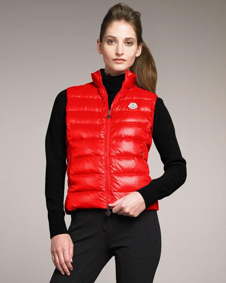 Nylon Laque Puffer Vest, Red
