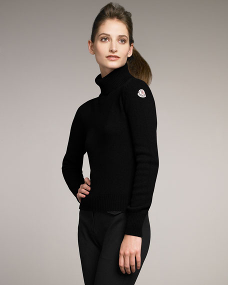 Wool-Cashmere Turtleneck, Black
