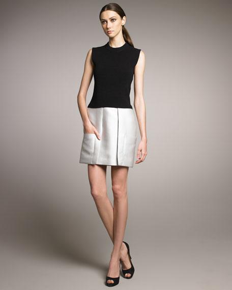 Knit & Contrast Taffeta Combo Dress
