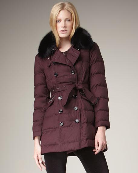 Fox-Collar Flannel Puffer Coat