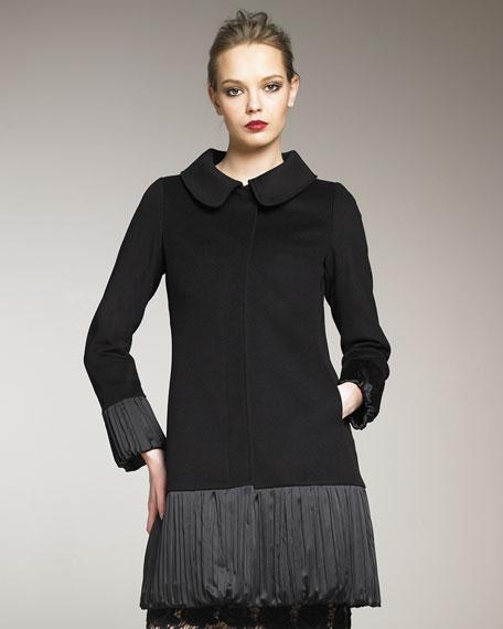 Pleated Sateen-Peplum Coat