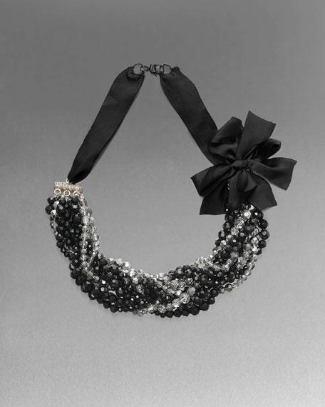 Satin Ribbon Crystal Necklace