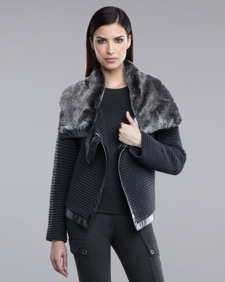 Ottoman Knit Jacket with Fur Collar