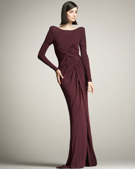 Front-Slit Ruched Gown