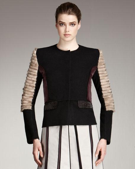 Colorblock-Fur Jacket