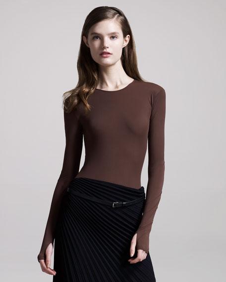 Jersey Thumbhole Bodysuit, Brown