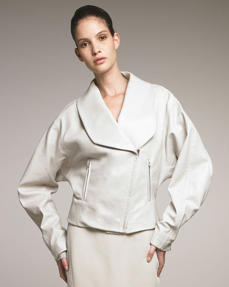 Shawl-Collar Leather Coat