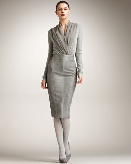 Sueded Cotton Pencil Skirt