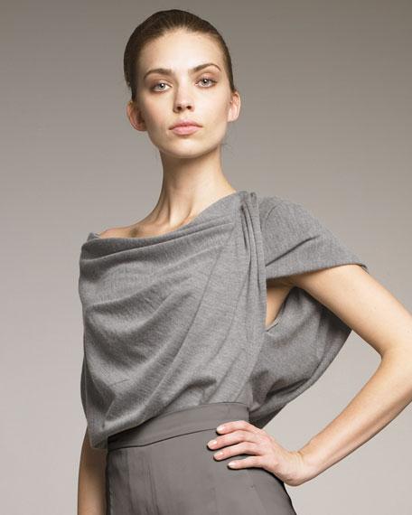 Cashmere-Silk Asymmetric Draped Tunic