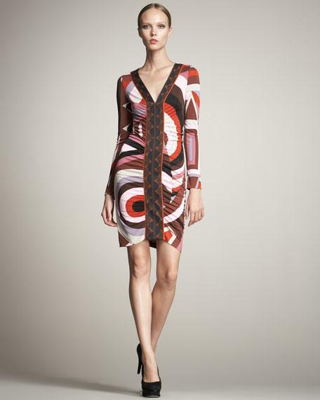 Cerchi-Print Ruched Dress